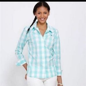 Vineyard vines blue gingham button down shirt sz 0